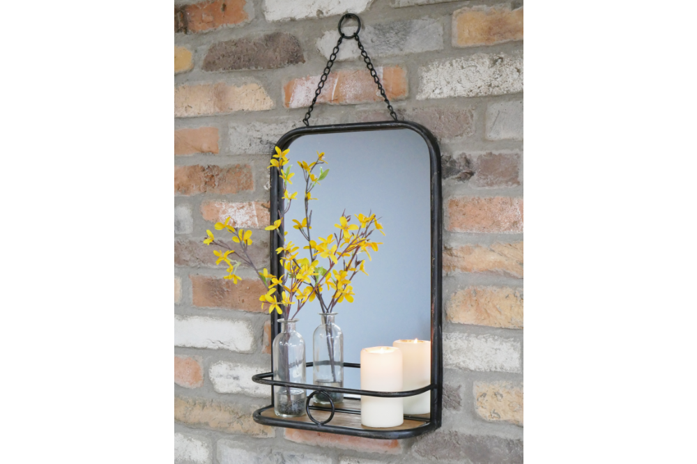 Rustic Metal Mirror Shelf